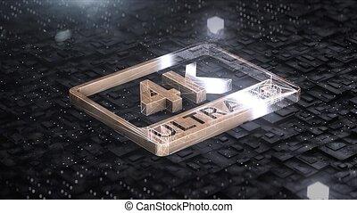 Digital background with 4k ultra hd gold logo 4k