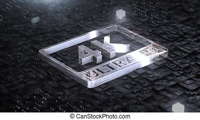Digital background with 4k ultra hd metal logo 4k