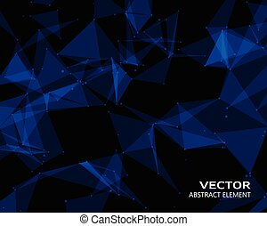 Digital background with blue geometric particles