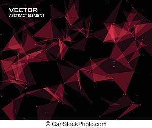 Digital background with red  geometric particles