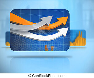 Digital background with screens including graphs levitating