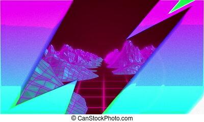 digital, berge, blitze, multi, aus, animation, farbig