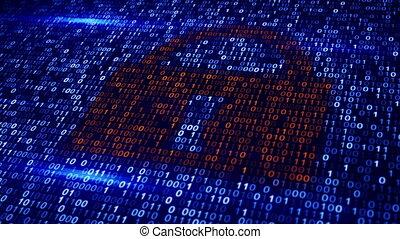 digital binary code lock loopable background