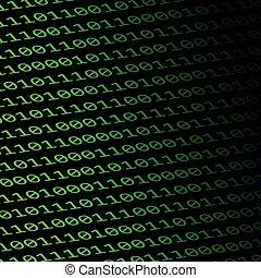 digital binary code on black background