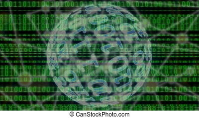 digital binary data scan loop background.Digital World...