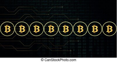 digital bitcoin network crypto currency with binary code background