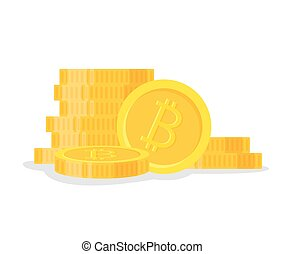 Digital bitcoins flat style isolated on white background. Icon finance heap, gold coin pile. Golden money standing on stacked - vector illustration