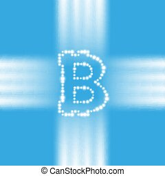 Digital bitcoins symbol with light effect on transparent backgraund.