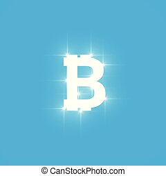 Digital bitcoins symbol with light effect on transparent backgraund.