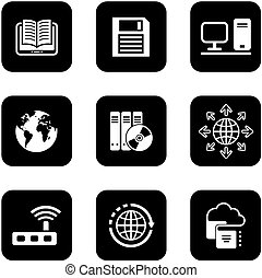 digital black icons set