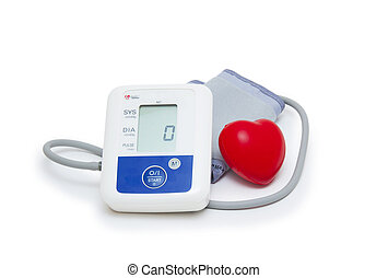 Digital blood pressure meter with love heart symbol on white background
