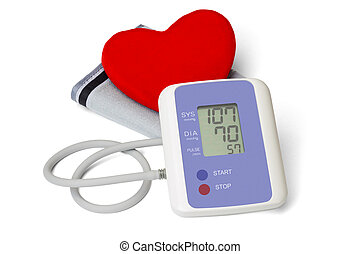Digital blood pressure meter with love heart symbol on white...