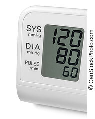 Digital blood pressure wrist tonometer monitor display screen showing ideal optimum 120 80 60 systolic diastolic pulse, isolated macro closeup