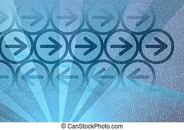 Digital blue arrows