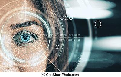 Digital blue eye interface wallpaper