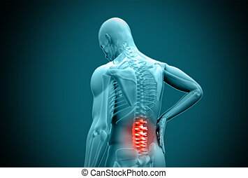 Digital blue human rubbing highlighted back pain on teal...