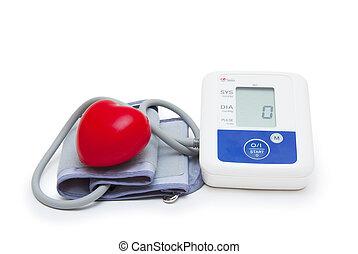 digital, blutdruckmessgeräte, mit, lieben herz, symbol, weiß, hintergrund