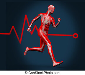 Digital body running against a heart rate line - Strong...
