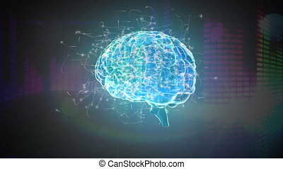 Digital animation of a rotating transparent blue brain with surrounding particles and colorful moving digital bars in a black background
