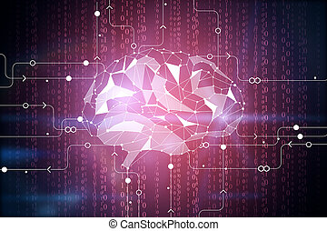 Digital brain backdrop - Abstract digital polygonal brain on...