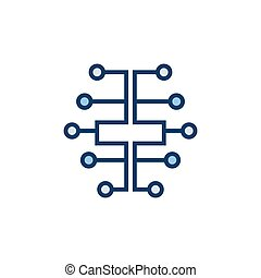 Digital brain icon - vector electric circuit brain AI symbol