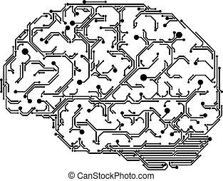 Digital Brain Illustration - Vector human brain made of...