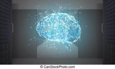 Digital brain in a server room