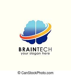 digital brain logo design vector icon