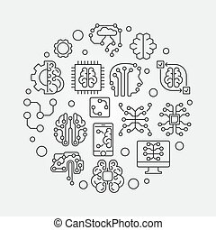Digital Brain round vector simple outline illustration -...