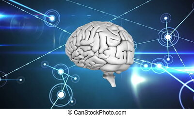 Digital brain with network of connected lines