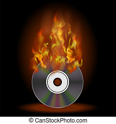 Burning Compact Disc with Fire and Flame