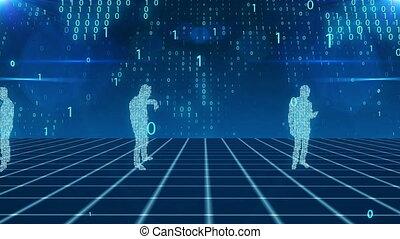 Digital business people in cyberspace with bits - Splendid...