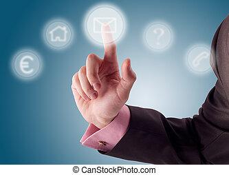 Digital buttons. - Business man pressing a digital button.