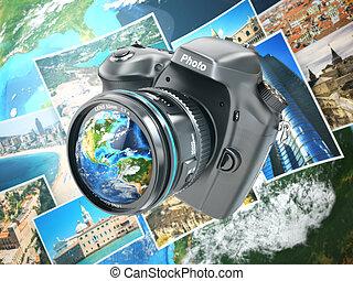 digital, cámara fotográfica de la foto, fondo, de, tierra, y, photographs.