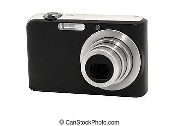 digital, câmera compacta, isolado, branco, fundo