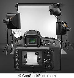 digital, câmera foto, em, estúdio, com, softbox, e, flashes.