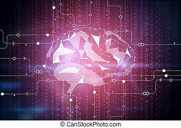 digital, cérebro, fundo