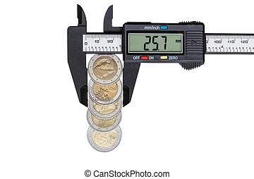 Digital caliper with euro coins