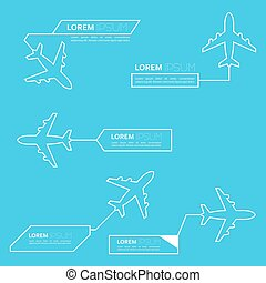 Digital callouts titles with aircraft. Set of vector...