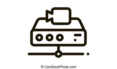Digital Camcorder Icon Animation. black Digital Camcorder animated icon on white background