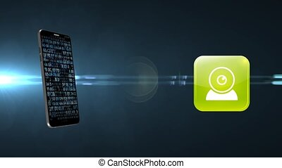 Digital camcorder icon on the phone. Transfer camera to ...