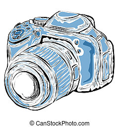 Vector illustration : Digital Camera on a white background.