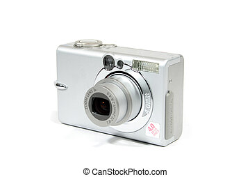 A point and shoot digital camera on white
