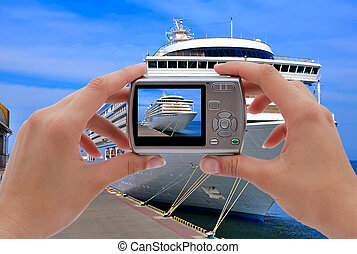 camera and cruise liner