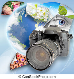 Digital camera and photographs on earth background