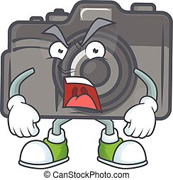 Digital camera cartoon character design with angry face