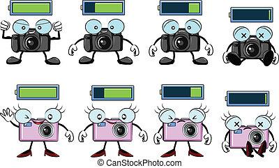 digital camera cartoon with battery