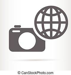 digital camera earth symbol icon