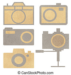 digital camera from paper craft isolated.