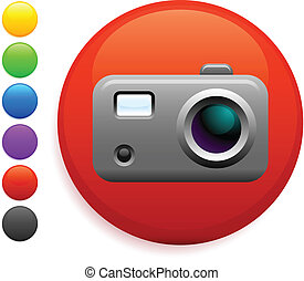 digital camera icon on round internet button